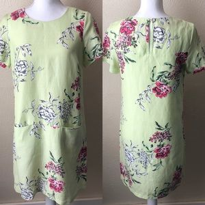 Joules Floral Shift Dress with Pockets 4 Green